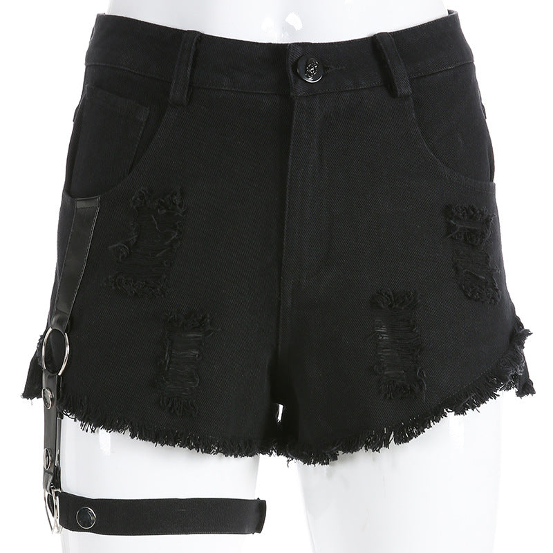 Punk Wind Single Side Detachable Belt Hollow Denim Shorts