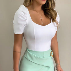 Sexy square collar women's shirt spring and summer pleated short sleeve shirt women's solid color fashion street shirt