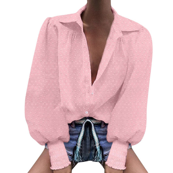 Sexy corset women's shirt fashion long sleeve V-neck sexy button shirt leisure