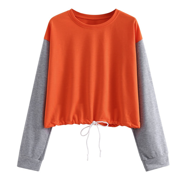 Splicing Print Elastic rope Tops Loose Solid O-Neck Long Sleeve Pullover Hooded Top Cap Blouse casual sweatshirt woman capucha