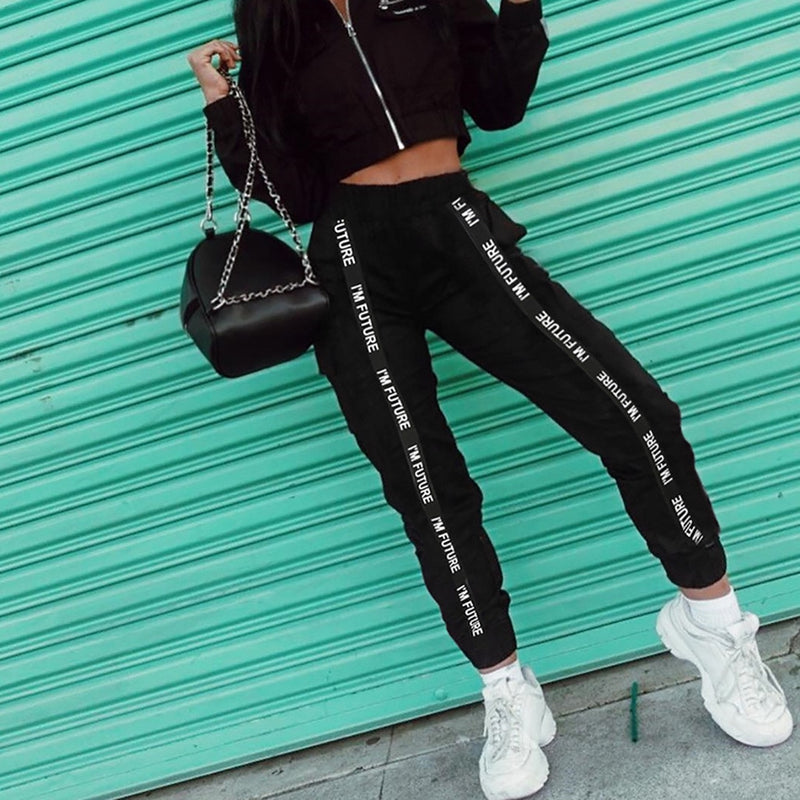 Sport Pants Women High Waist Letter Long Elastic Pocket Fashion Casual Trouser Personality Pantalones Mujer Hip Hop OY41*