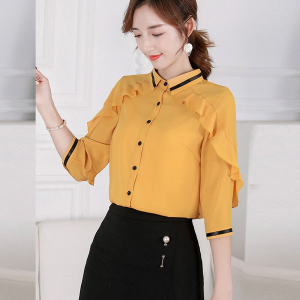 Spring and autumn women's chiffon shirt office women's top down collar long sleeve shirt hem
