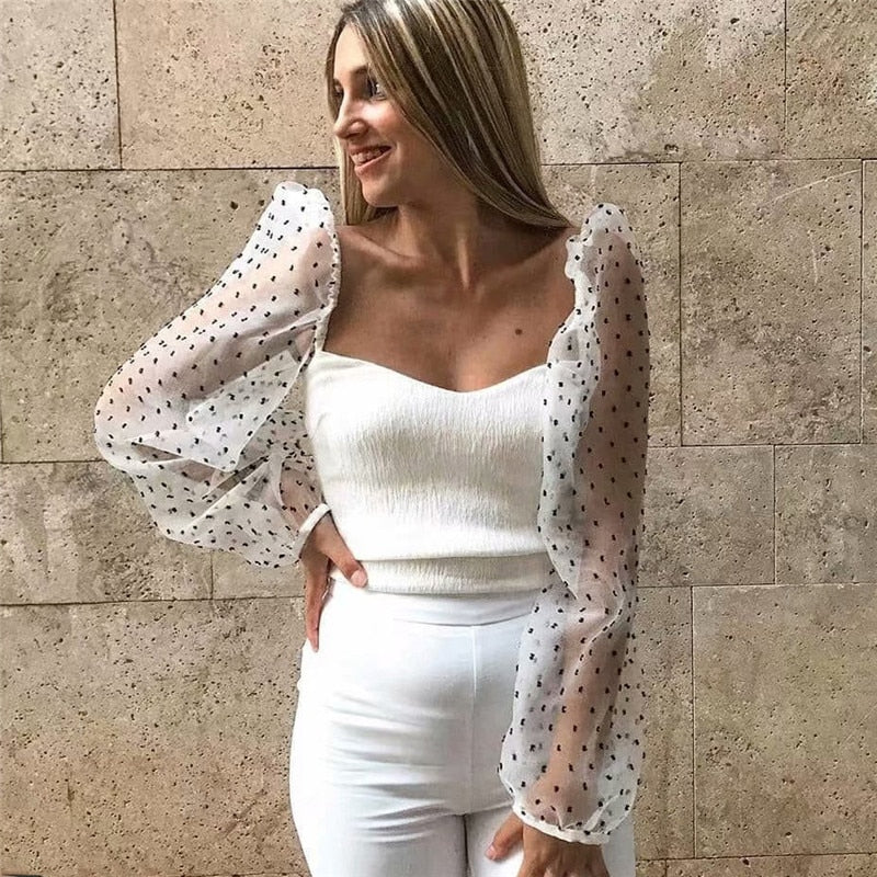 Fashion sexy slim mesh panel sleeve V-neck back less white blouse