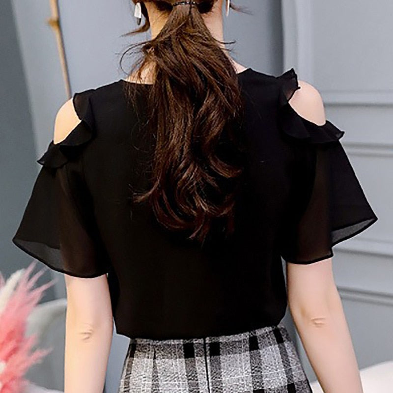 Summer women's black top Chiffon Shirt Top Women's solid color clothes