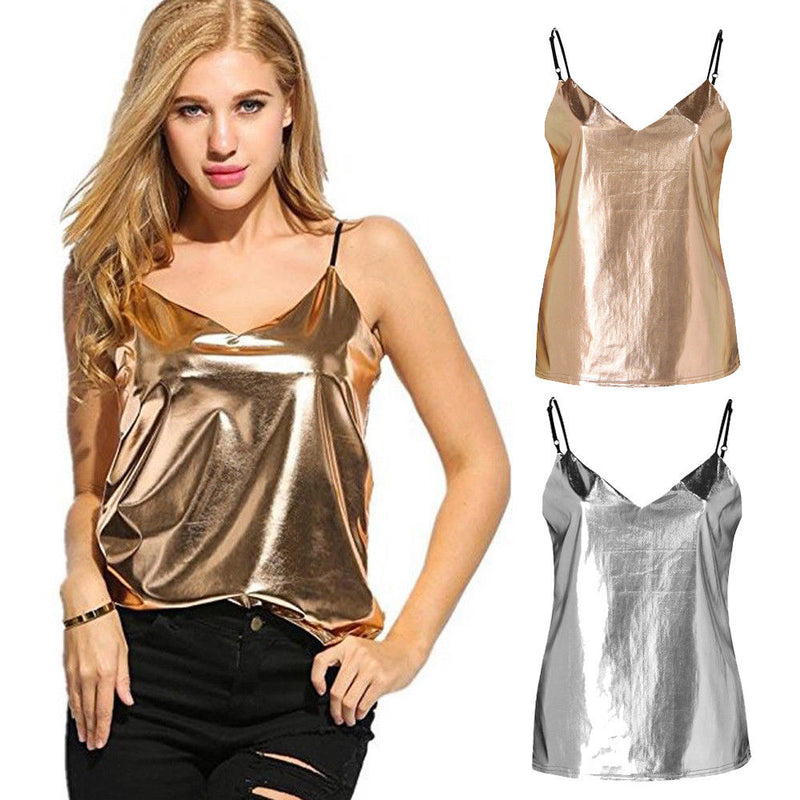 Summer New Womens Sexy Metallic Vest  Fashion Female Sleeveless Tank Gold Silver Solid V-Neck Tops T-shirts