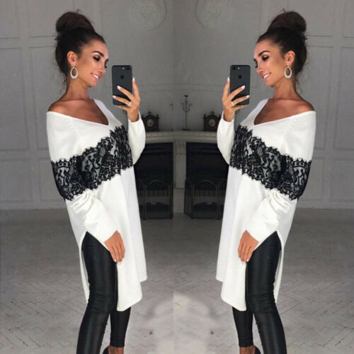 Summer Women Clothes New Casual Woman Long Sleeve V-neck White Jumper Pullover Long No Cap Tops
