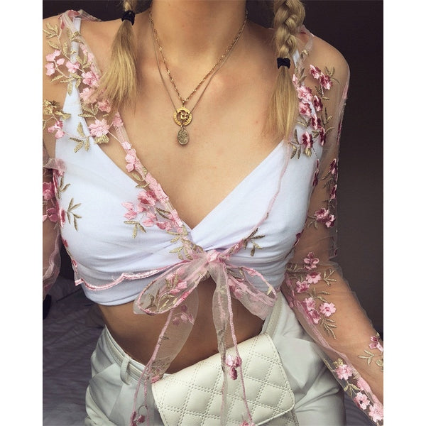 Shirt transparent embroidery tie top women's flower vest