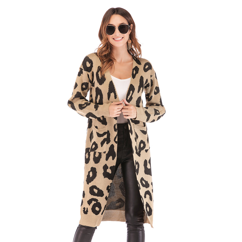 2019 autumn and winter explosions leopard knit jacket cardigan