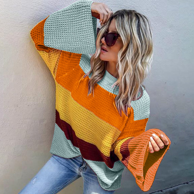 Three-color Stitched Long-sleeved Loose-fitting Top Sweater