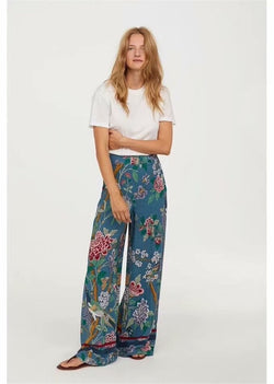 Vintage chic happie women  birds print wide leg bohemian pants ladies casual loose rayon pants  oversize