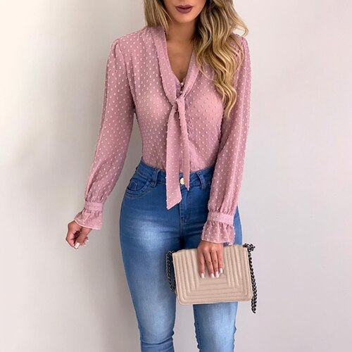 Women's fashion long sleeve V-neck pink shirt Chiffon office shirt slim casual top