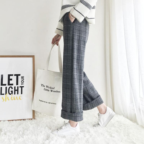 Autumn Winter Woolen Plaid Pants Women Elastic High Waist Ankle-length Pant Plus Size Harajuku Wide Leg Trousers
