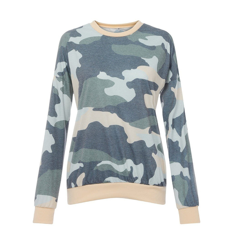 Women Camouflage Hoodie Casual Top Ladies Loose Long Sleeve Top Blouse Without Cap Sweatshirt Crew Neck
