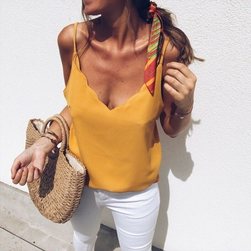 Women Casual Summer Top Ladies Vest Elegant Sleeveless Tank V Neck Loose debardeur femme Plain Basic Tee Streetwear Plus Size