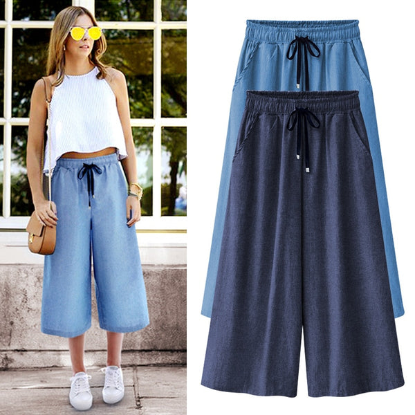 Women Cotton Wide leg Pants Loose Casual High Quality Summer Pants Solid Color Capris Trousers Plus