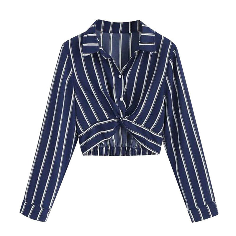 Women Crop Blouse Stripe Shirt Autumn Sexy Long Sleeve Button Turn-down Collar Button all season Loose Holiday camisa femenina