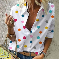 Women's shirt Chiffon color top slim casual V-neck lapel