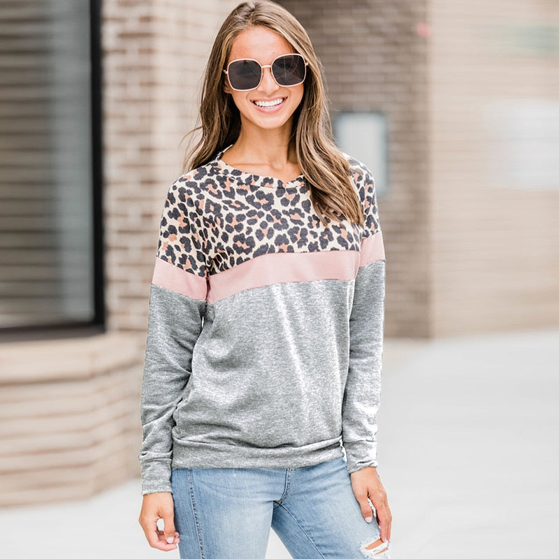 Women Hoodies Leopard Striped Patchwork Sweatshirt Autumn 2020 Fashion Long Sleeve O Neck Pullover Casual Female Streetwear Tops