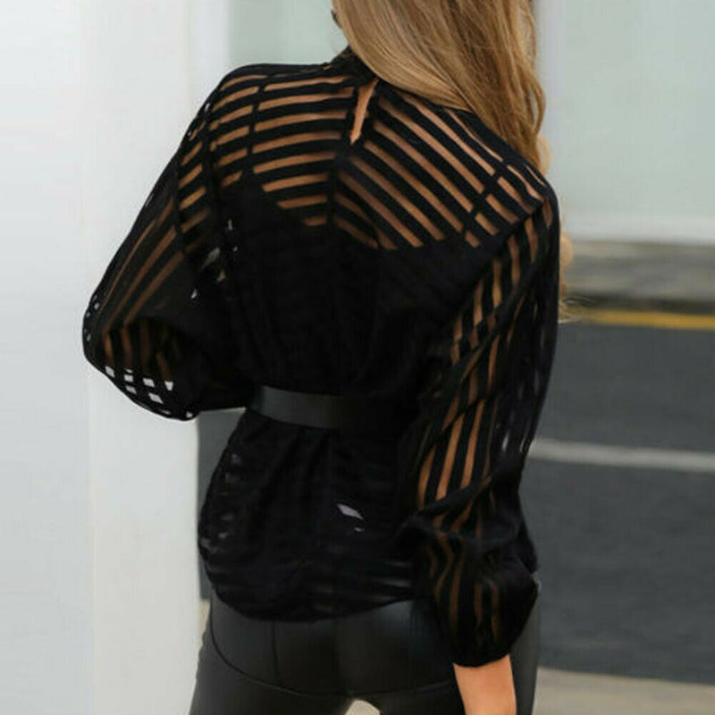 Women's mesh mesh blouse transparent long sleeve blouse black front cutout sexy top