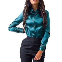 Women Office Work Blouse Shirts Ladies top Silk Satin shirt Long Sleeve Button Lapel Party Ladies Blouse Tops Blusas