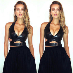 Vest Crop Top Ladies Deep V-neck Cut-Out Party Club Evening Black Tank Tops
