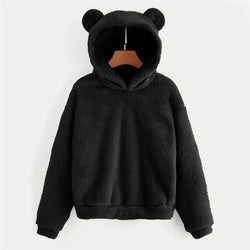 Women Plush Top PulloverWinter Warm Sweatshirt Lady Long Sleeve Bear Ear Hooded Fleece Plush Pullover Tops