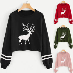 Women Print Sweatershirt Long Sleeve Blouse Crew Neck Without Cap Sweatshirts Crop Top