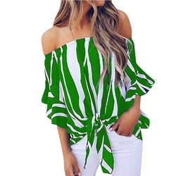 Women's stripe off shoulder Shirt Short sleeve casual sexy card top Pullover