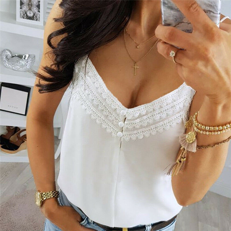 Casual lace top elegant sleeveless white T-shirt loose vest