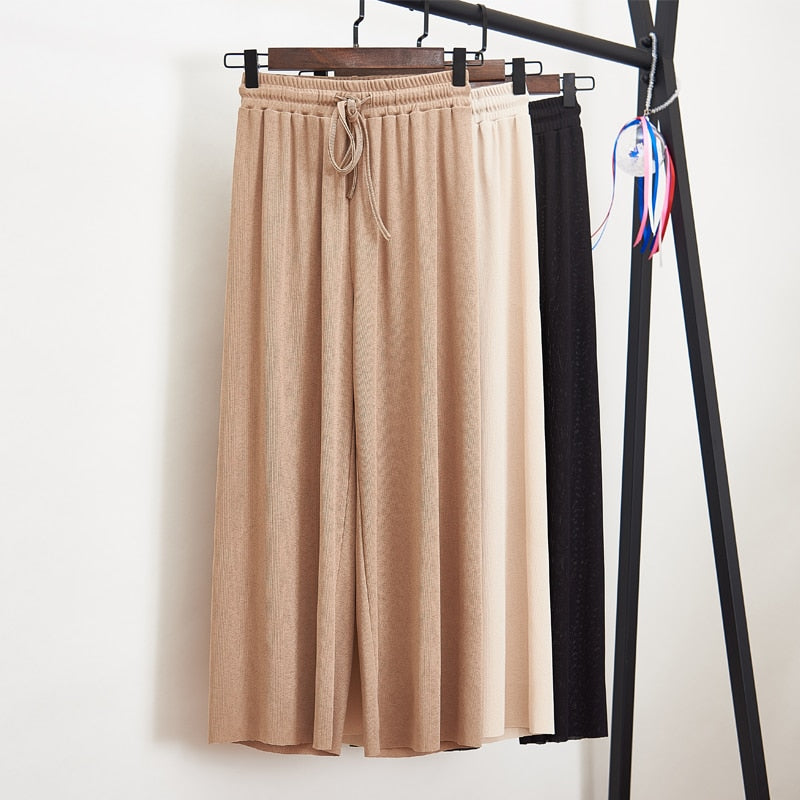 Women Summer Thin Knit Trousers Black Wide Leg Loose Pants Ankle Length Pants Casual trouser Elastic Waist Plus Size Pants