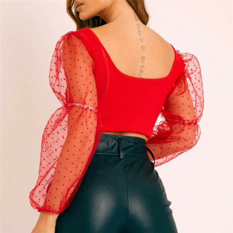 Women's off shoulder shirt slim cut top fashion long sleeve summer and autumn Pullover beach mesh dot Perspective