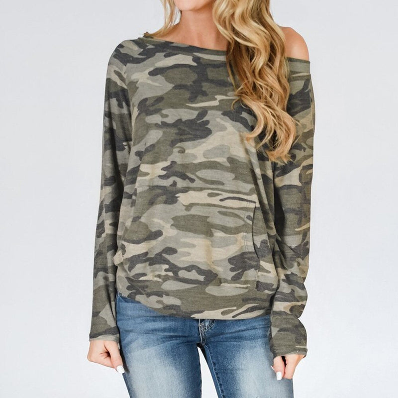 Women's Round Collar Camouflage Printing Hatless Long Sleeves Tops And streetwear Pocket Hooded Cap Long Sleeves Top Sweatshirt