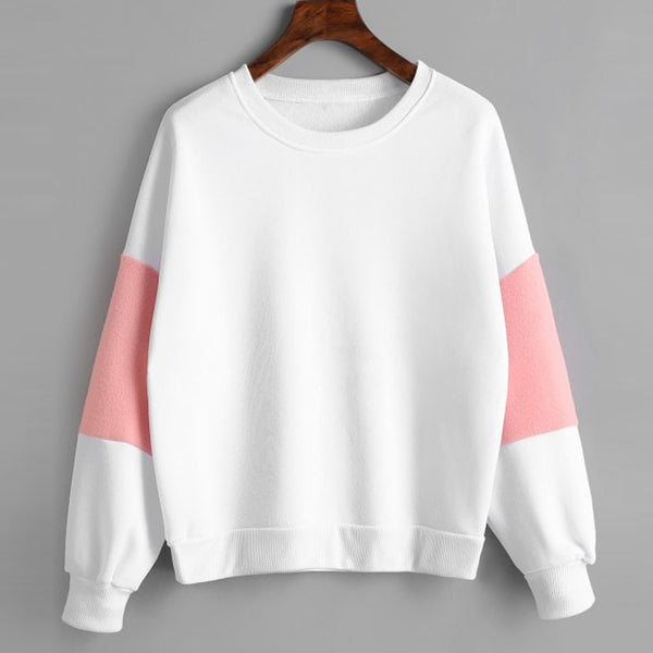 Womens Long Sleeve Faux Fur Embellished Sweatshirt Jumper Casual Long Sleeve Pullover Female Tracksuits Sportswear moletom