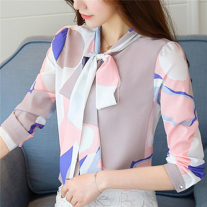 Spring chiffon blouse long sleeve elegant women's office shirt V-neck work clothes casual fit top white shirt