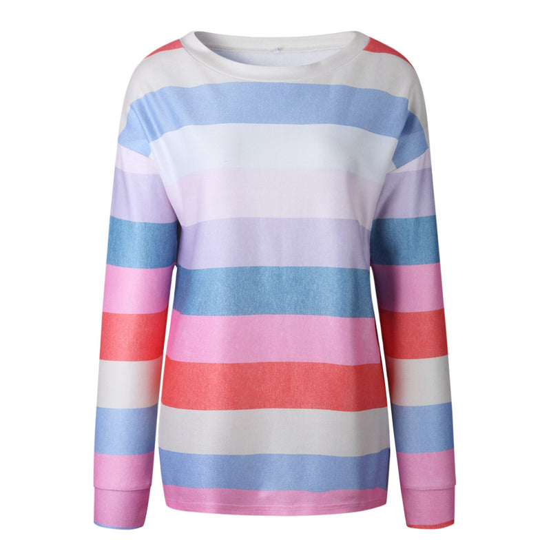 Fashionable printing round neck long women's shirt spring and autumn hoodless Sweatshirt