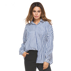 Striped Pocket Long-sleeved Swallow Tail With Lady's Shirt