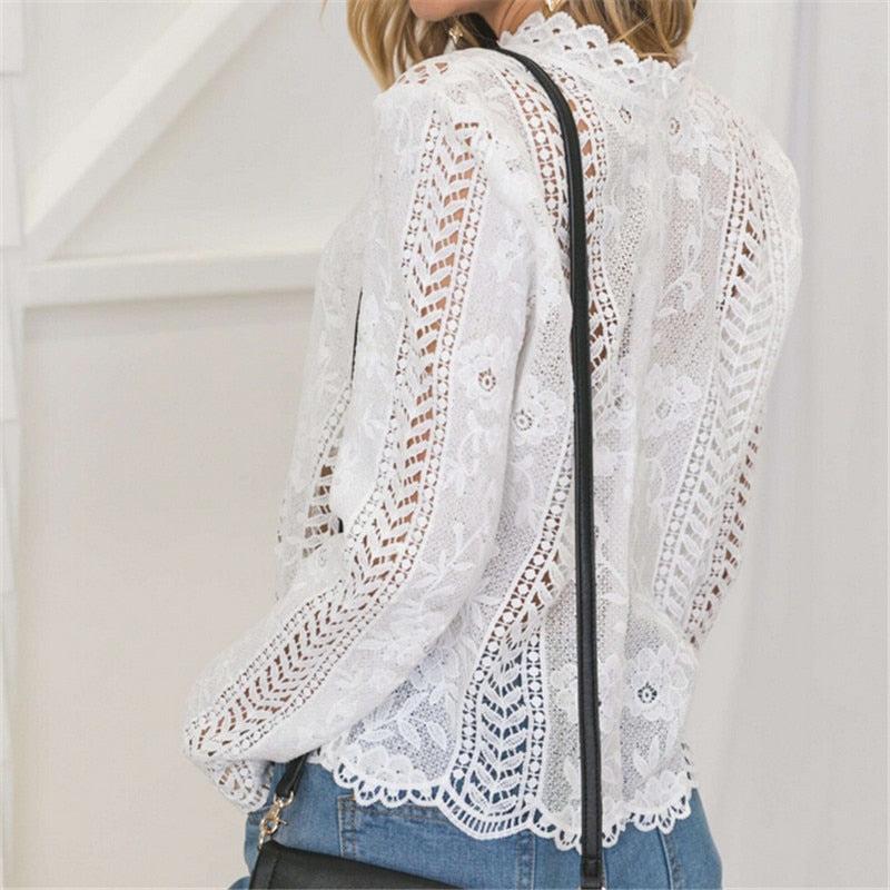 Women's back white lace hollow long sleeve top high neck top women's summer top