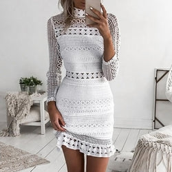 Summer Dresses Women Sexy Dress Bodycon Long Sleeve Ruffle Hollow Out Crochet Lace Party Dress Female Vestidos