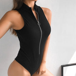 Women Zipper Bodysuit Black Body Straps Casual Summer Mujer Sexy Overalls Rompers Womens Jumpsuit