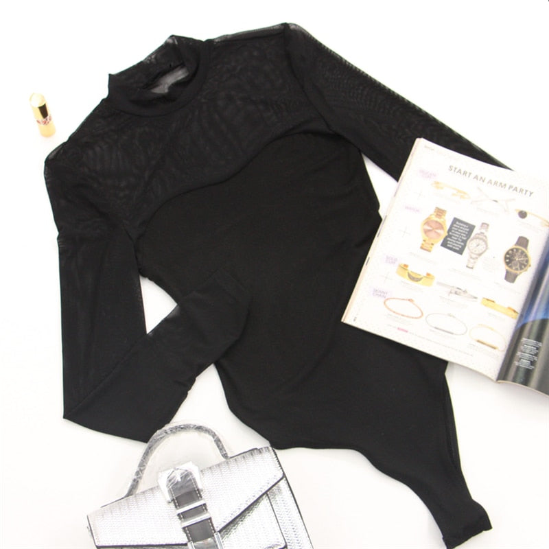 Solid Bodysuits Mock Neck Mesh Sheer Skinny Black Night Out Bodysuit Women Autumn Long Sleeve Sexy Body Female Basic