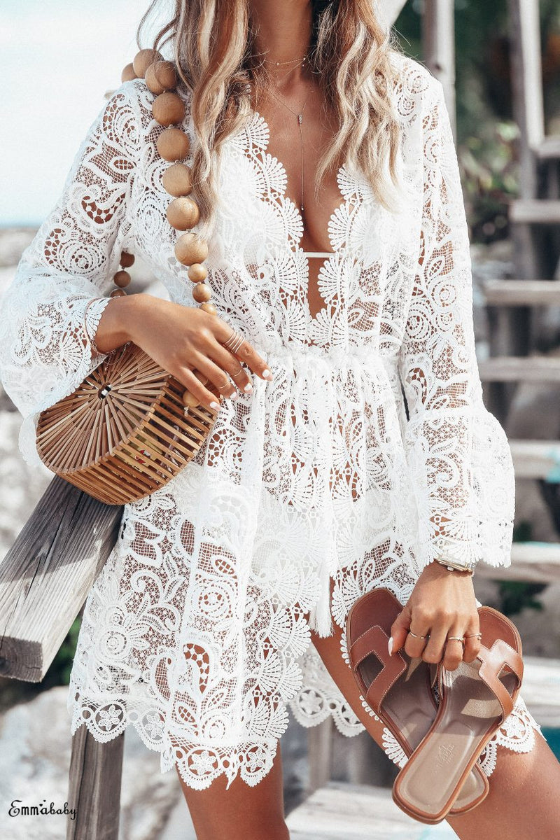 Summer Women Bikini Cover Up Floral Lace Hollow Crochet Swimsuit Cover-Ups Bathing Suit Beachwear Tunic Beach Dress Hot