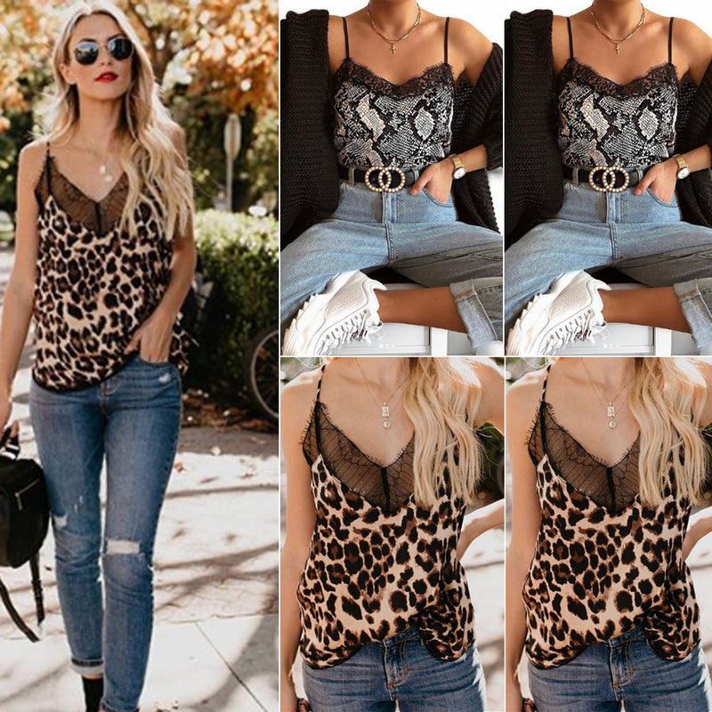 New Fashion Sexy Womens Summer Camis Tops Lace Leopard Patchwork Female Crop Top Tank Tops