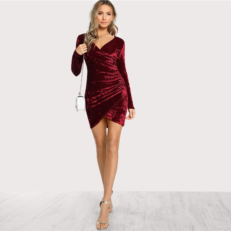 Solid Ruched Overlap Surplice Crushed Velvet Long Sleeve Pencil Dress Autumn Club Women Dresses