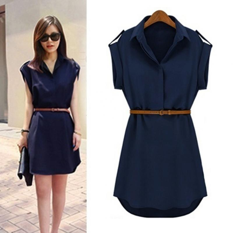 Summer Women Chiffon Dress Casual Chiffon Short-sleeved Loose Mini Dress Ladies Lapel Collar Shirt Dress with Belt
