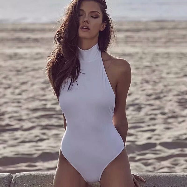 backless sexy turtleneck bodysuit women white black sleeveless  halter rib body suits for women streetwear