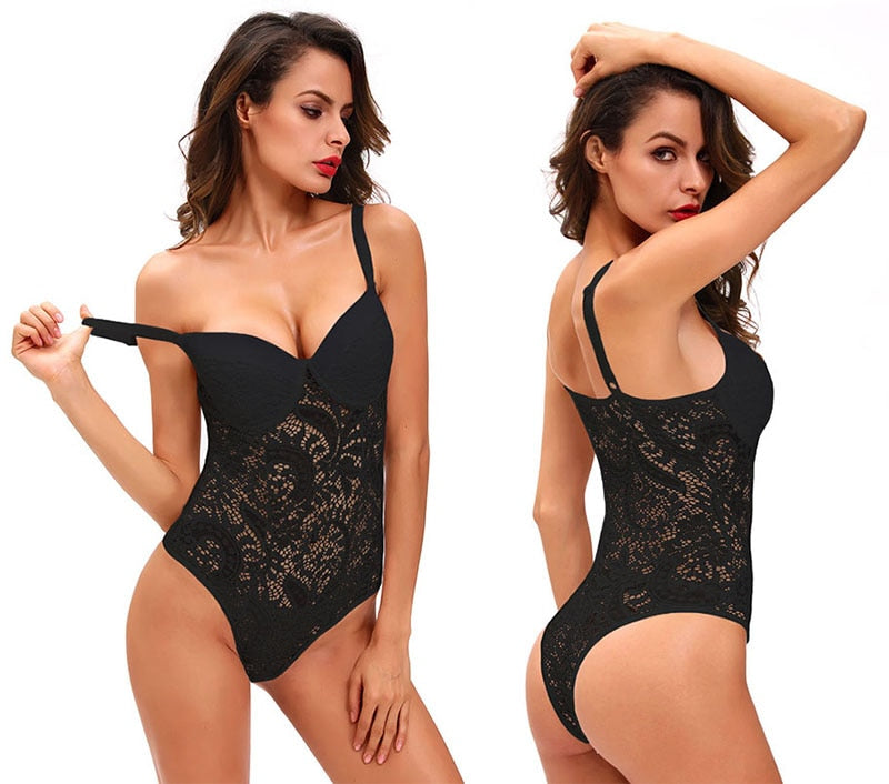 Sexy Female Lace Bodysuit Black Padded with Cups Woman Spaghetti Straps Hollow Out Floral Body Top Clothes Ladies Bodice