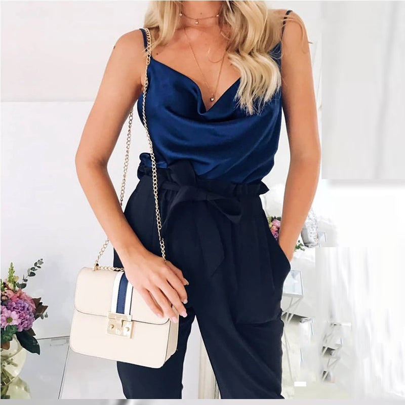 Satin Women Thin Wild Solid Vest Women Tank Tops Female Summer Sexy  Basic Tops Chiffon Sleeveless Camisole