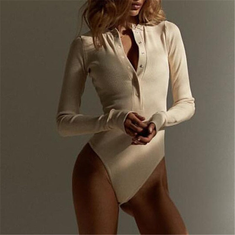 Women Sexy V Neck Knitted Bodysuit Long Sleeve Buttons Rompers Casual One-pieces Bodysuit Club Party Outfits E446