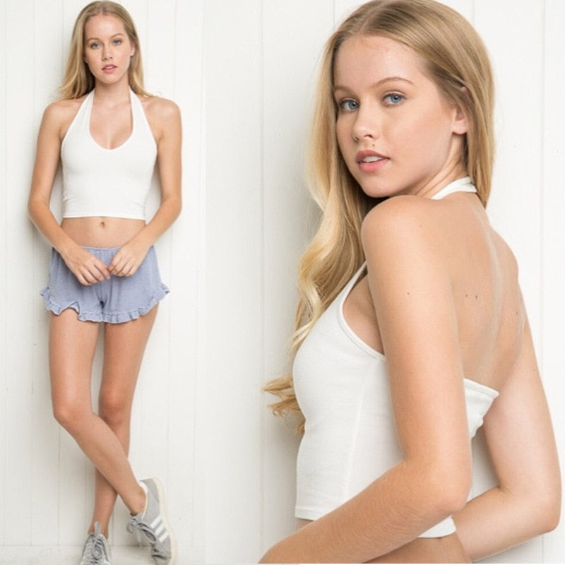 Charmed New Women Sleeveless Tank Crop Fitness Vest Solid O neck Summer Halter Bralette Tops