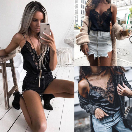 Women Sexy V Neck Slim Sleeveless Lace Patchwork Hollow Black Vest Top Tank S-XL